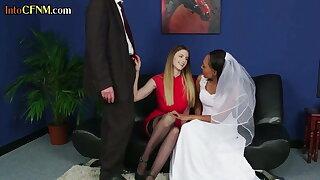 CFNM ebony bride threeway tugging subject's cock