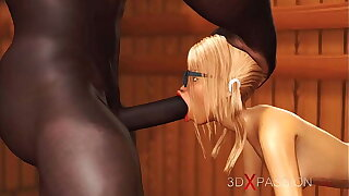Hot nerdy unspecified nigh glasses gets fucked by black basketball player nigh sauna