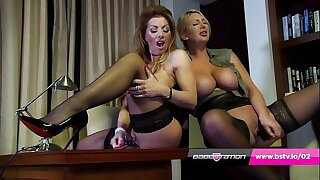 Office lesbians Lynda Leigh & Leigh Darby about lingerie and heels